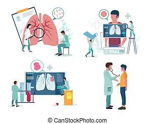vektor, pulmonology, légzési, vagy, állhatatos, orvosság, ikon, ábra
