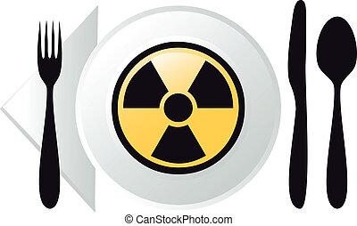 vektor, radioaktív, élelmiszer
