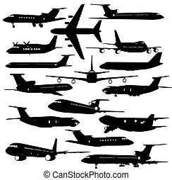 vektor, repülőgép, gyűjtés, különböző, silhouettes., ábra
