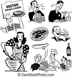 vektor, retro, konyha, grafika