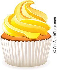 vektor, sárga, cupcake