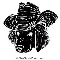 vektor, súlyos, szürke, labrador, karikatúra, kalap, vizsla, kutya, csípőre szabott, selyem