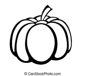 vektor, sütőtök, logo., monochrom, ábra