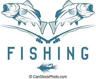 vektor, sablon, tervezés, basszus, halászat, szüret