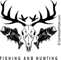 vektor, sablon, tervezés, halászat, szüret, embléma, vadászat