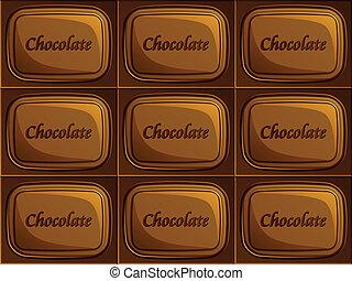 vektor, seamless, csokoládé