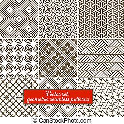 vektor, set:, 9, geometriai, patterns., seamless