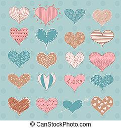 vektor, sketchy, piros, nap, doodles, retro, valentine's