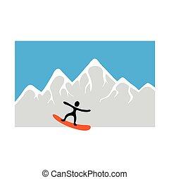 vektor, snowboarder, freeride, snowy hegy, ábra