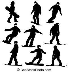 vektor, snowboarders, állhatatos, silhouettes., illustration.