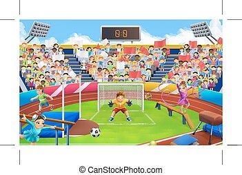 vektor, sport, stadion, háttér, küzdőtér