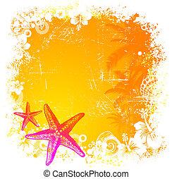 vektor, starfishes, kéz, háttér, húzott, tropikus