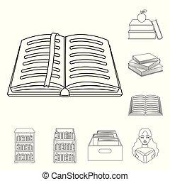 vektor, stock., tankönyv, cégtábla., könyvtár, ikon, elszigetelt, cél, gyűjtés