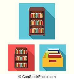 vektor, stock., tankönyv, cégtábla., könyvtár, ikon, gyűjtés, tervezés