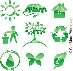 vektor, symbols., természet, icons., oltalom, zöld, sima