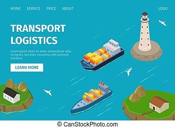 vektor, szállít, port., logisztika, rakomány, víz tároló, hajó, ábra, website