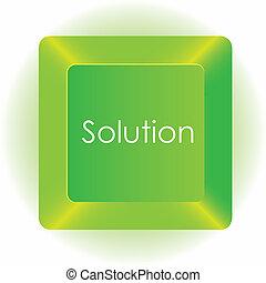 vektor, számítógép, elszigetelt, ábra, háttér, zöld kulcs, fehér