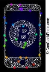 vektor, színezett, hulla, mozgatható, fény, bitcoin, bepiszkit, színkép, behálóz, part