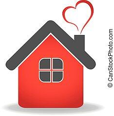 vektor, szív, épület, jel, tervezés