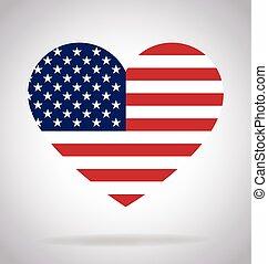 vektor, szív alakzat, american lobogó, usa