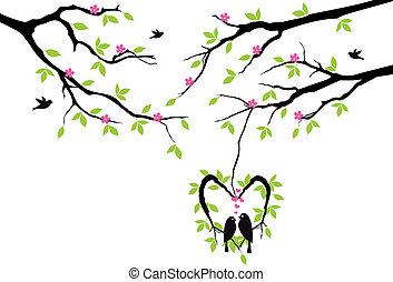 vektor, szív, búvóhely, fa, madarak