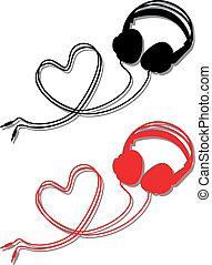 vektor, szív, fejhallgató