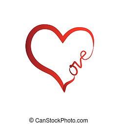 vektor, szív, szeret, jel, valentines