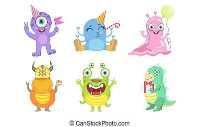 vektor, szörnyek, furcsa, betűk, színes, állhatatos, barátságos, ábra, mutáns, csinos