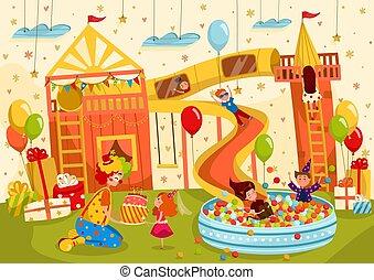 vektor, születésnap, móka, ábra, lány, gyerekek, fél, fiú, játszótér, birtoklás