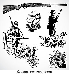 vektor, szüret, lövészgyalogság, vadászat, grafika