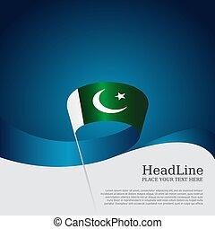 vektor, szalag, állam, fehér, háttér., poster., design., kék, fedő, pakisztán, hazafias, hullámos, transzparens, lobogó, befest, nemzeti, repülő