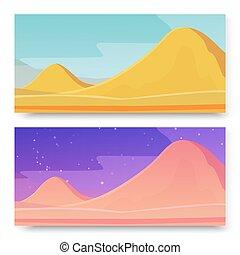 vektor, szalagcímek, hegy, hegyek, panorama., illustration., két, terület, lakatlan, ground., bolygó, nap, éjszaka, hintáztatni, csillagos, táj, állhatatos, homok, háttér.