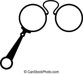 vektor, szemüveg, opera, antik, ikon