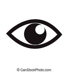 vektor, szem, ábra, ikon