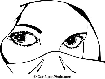 vektor, szemek, woman's, függöny, alatt