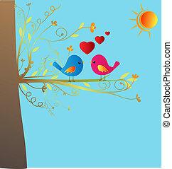vektor, szeret madár, részvény