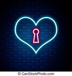 vektor, tégla, cégtábla., kulcslyuk, háttér., izzó, elszigetelt, egyenes, concept., heart., neon, szív körvonalaz, színes, fal, jelkép, szeret, bezárt, ikon
