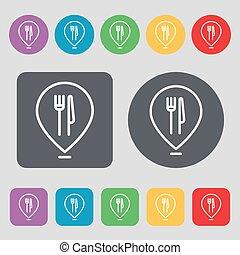 vektor, térkép, buttons., színezett, ikon, étterem, cégtábla., lakás, állhatatos, 12, mutató, design.