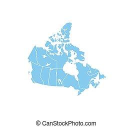 vektor, térkép, illustration., egyesült államok, határ, kanada, map.