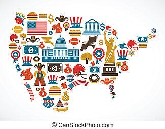 vektor, térkép, sok, amerika, ikonok