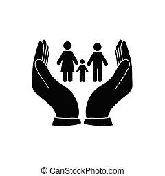 vektor, törődik, birtok, család, icon., kéz, ikon