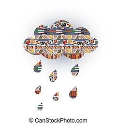 vektor, törzsi, időjárás, esőcseppek, ornaments., felhő