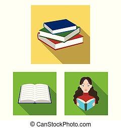 vektor, tankönyv, cégtábla., könyvtár, részvény, gyűjtés, tervezés, illustration.