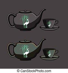 vektor, teáskanna, kínai, csésze