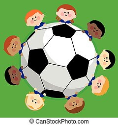 vektor, team., futball foci, ábra, gyerekek