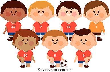 vektor, team., futball, gyerekek, ábra