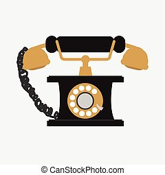 vektor, telefon, white háttér, szüret