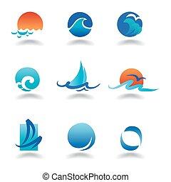 vektor, tenger, lenget