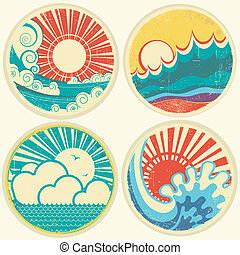 vektor, tenger, nap, waves., kilátás a tengerre, ikonok, szüret, ábra