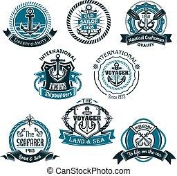 vektor, tengeri, állhatatos, tengeri, ikonok